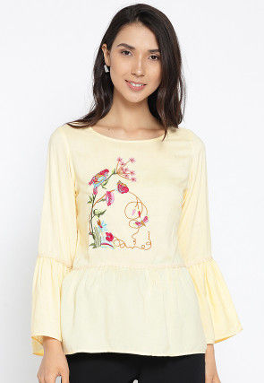 Embroidered Viscose Rayon Peplum Style Top in Cream