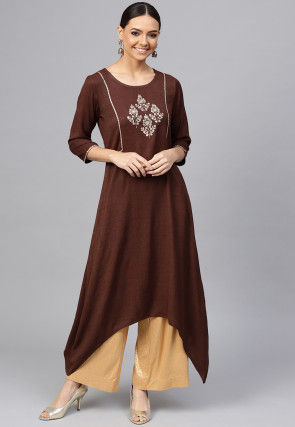 Embroidered Viscose Rayon Side Drop Kurta in Brown