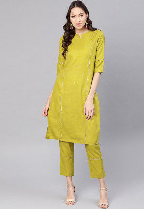 Embroidered Viscose Rayon Slub Pakistani Suit in Olive Green