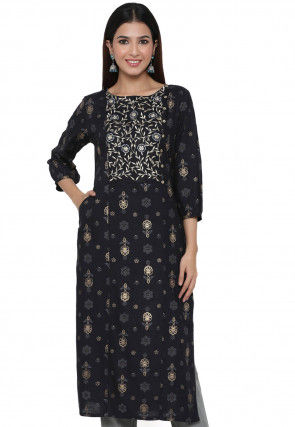 Embroidered Viscose Rayon Straight Kurta in Black
