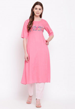 Embroidered Viscose Rayon Straight Kurta in Pink