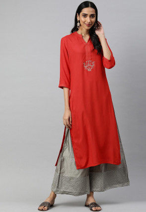 Embroidered Viscose Rayon Straight Kurta in Red