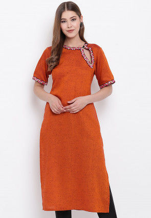 Embroidered Viscose Rayon Straight Kurta in Rust