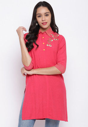 Embroidered Viscose Rayon Straight Kurti in Coral Pink