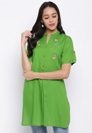Embroidered Viscose Rayon Straight Kurti in Light Green