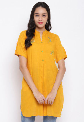 Embroidered Viscose Rayon Straight Kurti in Mustard