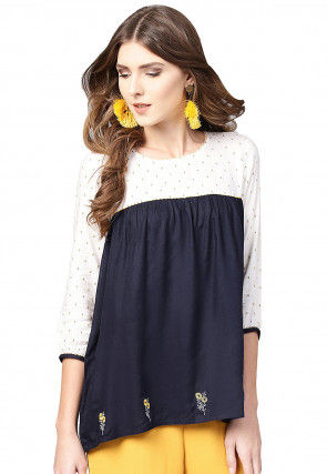 Embroidered Viscose Rayon Top in Black and Off White