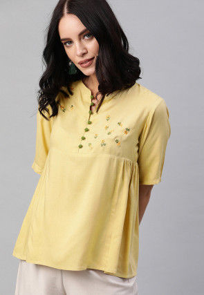Embroidered Viscose Rayon Top in Light Yellow