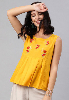 Embroidered Viscose Rayon Top in Mustard