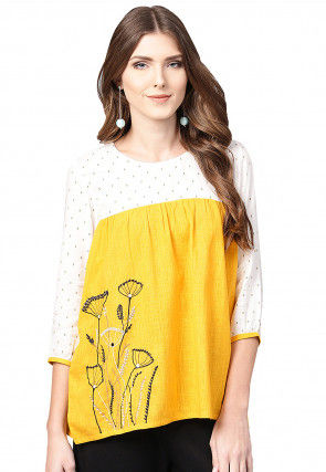 Embroidered Viscose Rayon Top in Yellow and Off White
