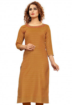 Embroidered Viscose Straight Kurta in Light Brown