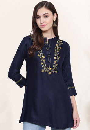 Embroidered Viscose Top in Navy Blue