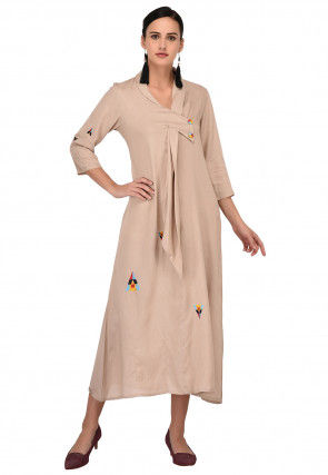 Embroidered Viscose Tunic in Light Beige