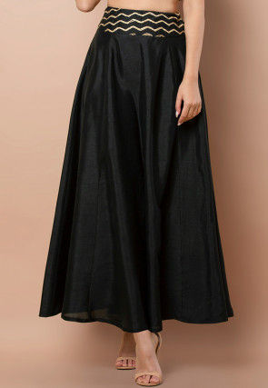 Embroidered Waist Dupion Silk Skirt in Black