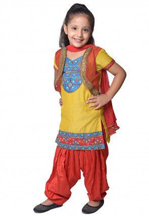 Embroidered Yellow Chanderi Silk Jacket Style Punjabi Suit