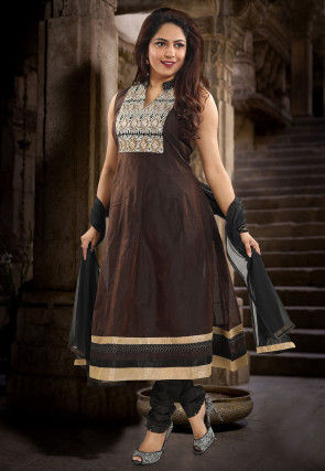 Embroidered Yoke Chanderi Silk Anarkali Suit in Dark Brown