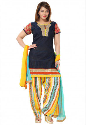 Embroidered Yoke Chanderi Silk Punjabi Suit in Navy Blue
