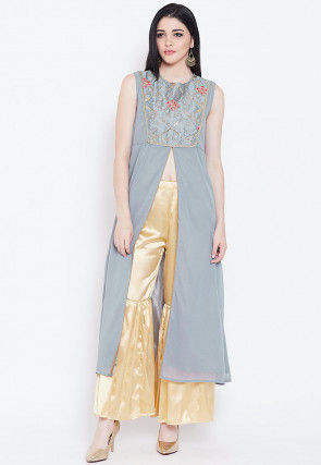 Embroidered Yoke Georgette Front Slit Kurta in Light Grey