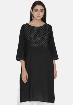 Embroidered Yoke Rayon Kurti in Black