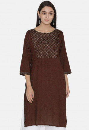 Embroidered Yoke Rayon Kurti in Dark Brown