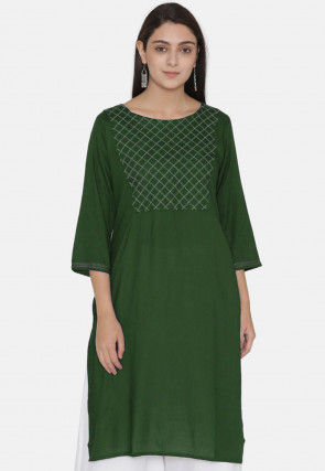 Embroidered Yoke Rayon Kurti in Dark Green