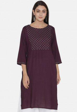 Embroidered Yoke Rayon Kurti in Wine