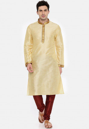 Embroidered Dupion Silk Kurta Set in Beige