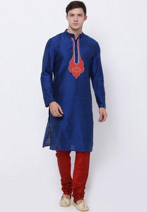 Embroidered Dupion Silk Kurta Set in Dark Blue