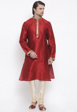 Embroidered Dupion Silk Kurta Set in Maroon