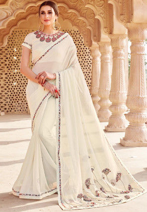Embrtoidered Georgette Saree in Off White
