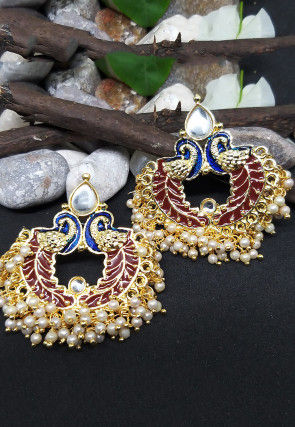 Enamel Filled Beaded Peacock Style Chandbali Earrings