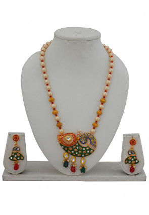 Enamel Filled Beaded Peacock Style Necklace Set