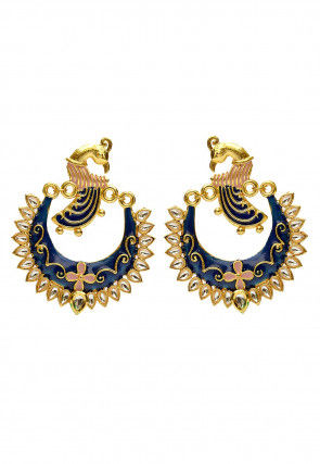 Enamel Filled Chandbali Earrings