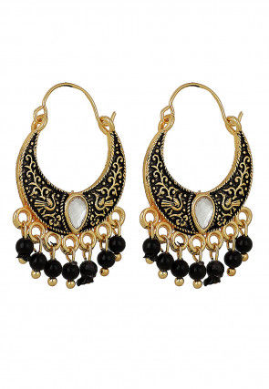 Enamel Filled Chandbali Earrings