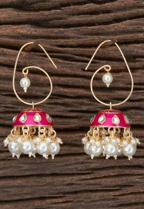 Enamel Filled Jhumka Stye Earrings