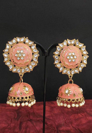 Enamel Filled Jhumka Style Earrings