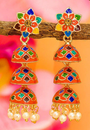 Enamel Filled Jhumka Style Layered Earrings