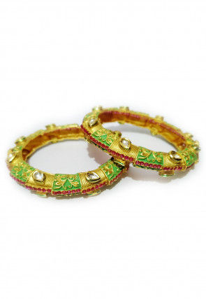 Enamel Filled Kundan Bangle Pair