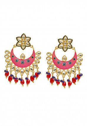 Enamel Filled Kundan Chandbali Earrings