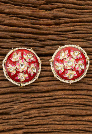 Enamel Filled Kundan Earrings