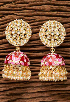 Enamel Filled Kundan Jhumka Style Earrings