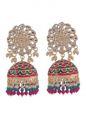 Enamel Filled Kundan Jhumka Style Earrings
