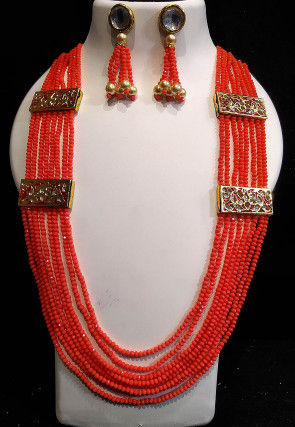 Enamel Filled Kundan Long Layered Necklace Set
