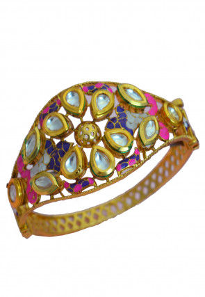 Enamel Filled Kundan Openable Bracelet