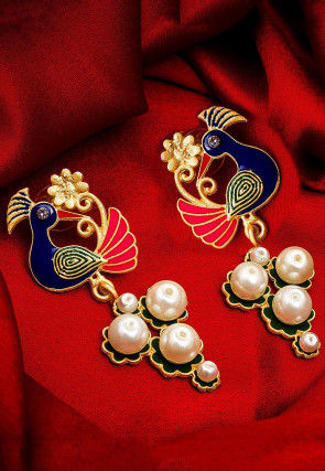 Enamel Filled Pearl Peacock Style Earrings