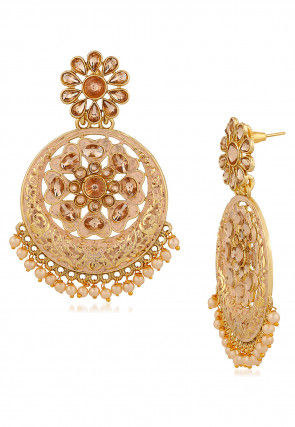 Enamel Filled Stone Studded  Chandbali Earrings