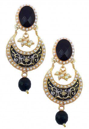Enamel Filled Stone Studded Chandbali Earrings