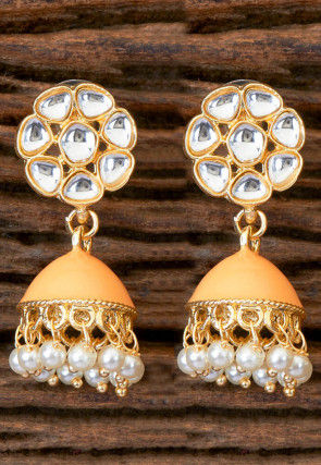Enamel Filled Stone Studded Jhumka Stye Earrings