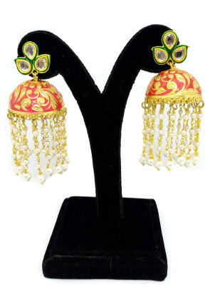 Enamel Filled Stone Studded Jhumka Style Earrings