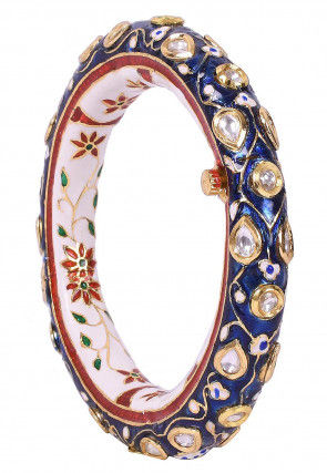 Enamel Filled Stone Studded Openable Bangle